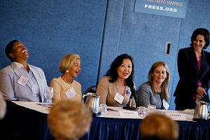 OWL, the Voice of Women 40+ issues it's 2015 Mother's Day Report Wednesday, May 6, 2015 in Washington at the National Press Club with Vernice Armour, Carol Gardner, Svetlana Kim, Patricia Lizarraga, Nell Merlino, Gail Sheehy, Jeanne Sullivan Teresa Younger, and Kay Koplovitz. (Sharon Farmer/sfphotoworks)